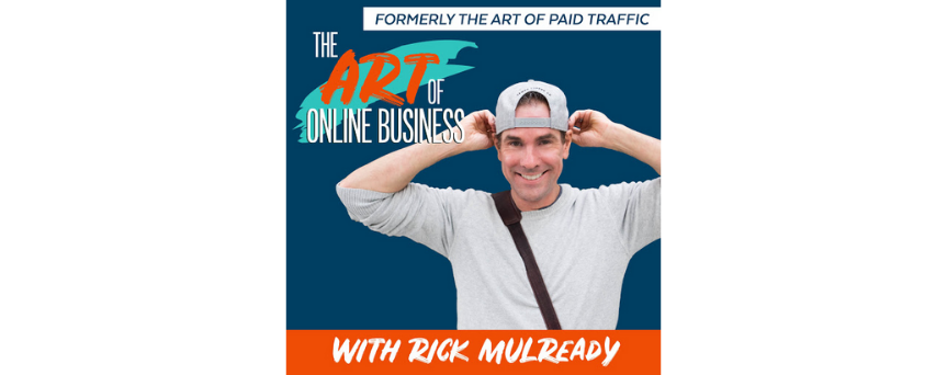 """Image of Rick Mulready with a grey suit on a blue background with """"The art of online business"""" written above him"""