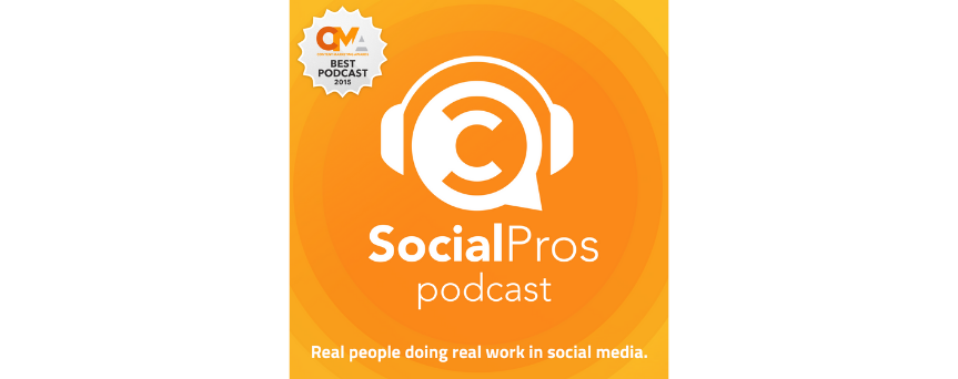 """White """"Social Pros Podcast"""" write on an orange background, with its logo on the top"""