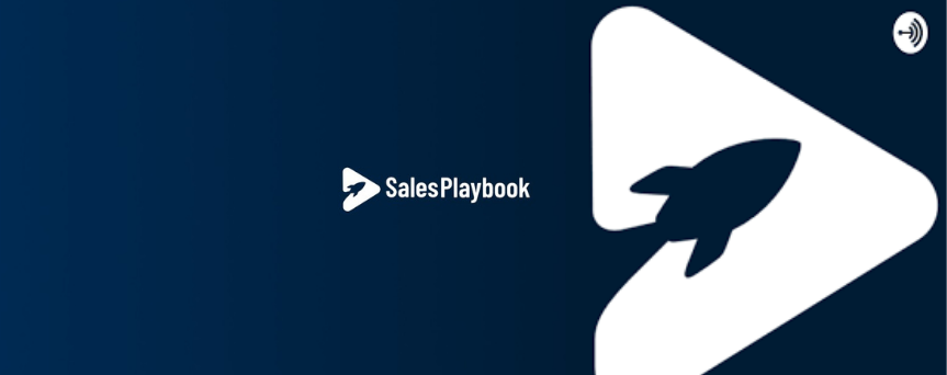 """""""SalesPlaybook"""" is written in white on a dark blue background. On the right, there's a triangle and a rocket, which is their logo."""