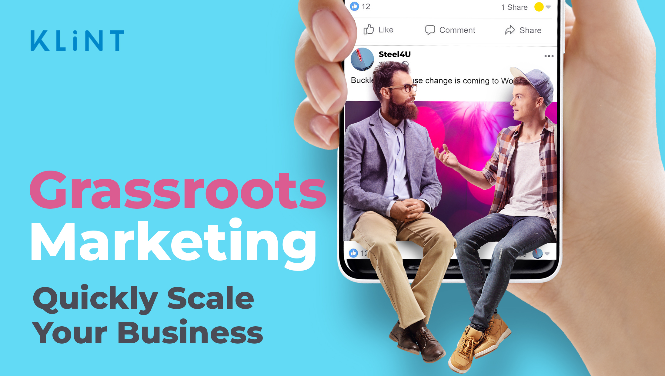 """hand holding a smart phone with instagram app open, the picture on the screen has 2 people sitting and talking. text overlaid: """"grassroots marketing, quickly scale your business"""""""