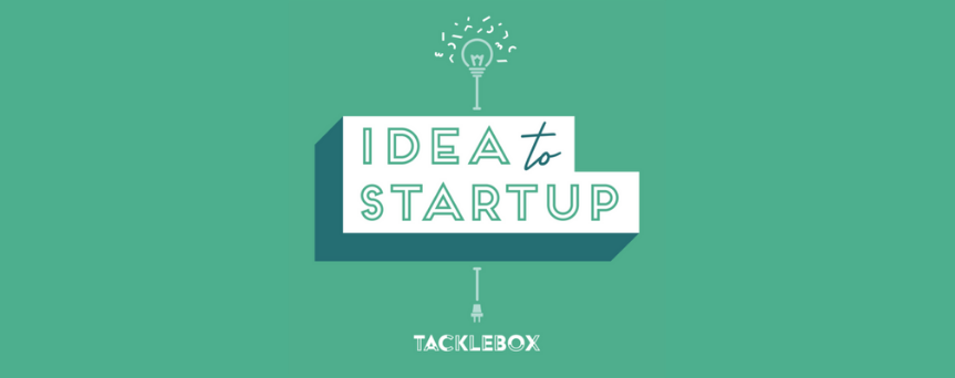 """Green background image with """"Idea to Startup"""" written in a white background. The sign is green and above there's a lamp"""
