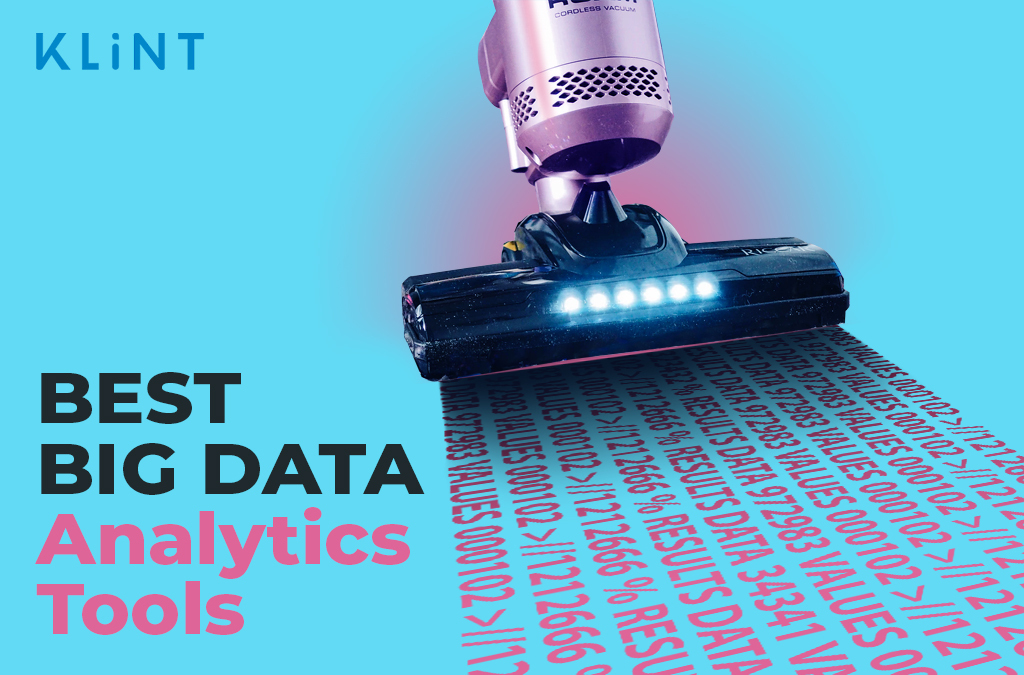 """a vacuum cleaner vacuums up streams of data. text overlaid: """"best big data analytics tools"""""""