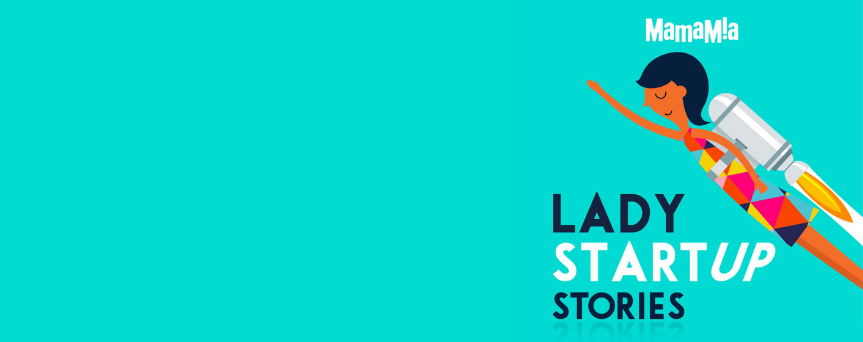 """Light blue background with a woman with a rocket on her back. Under her, there's written """"Lady Startup Stories"""" both in dark blue and in white"""