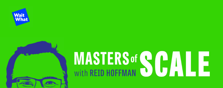 """Electric green background image with """"Masters of Scale"""" written in white. On the left, there's a cartoon style image of Reid Hoffman's face"""