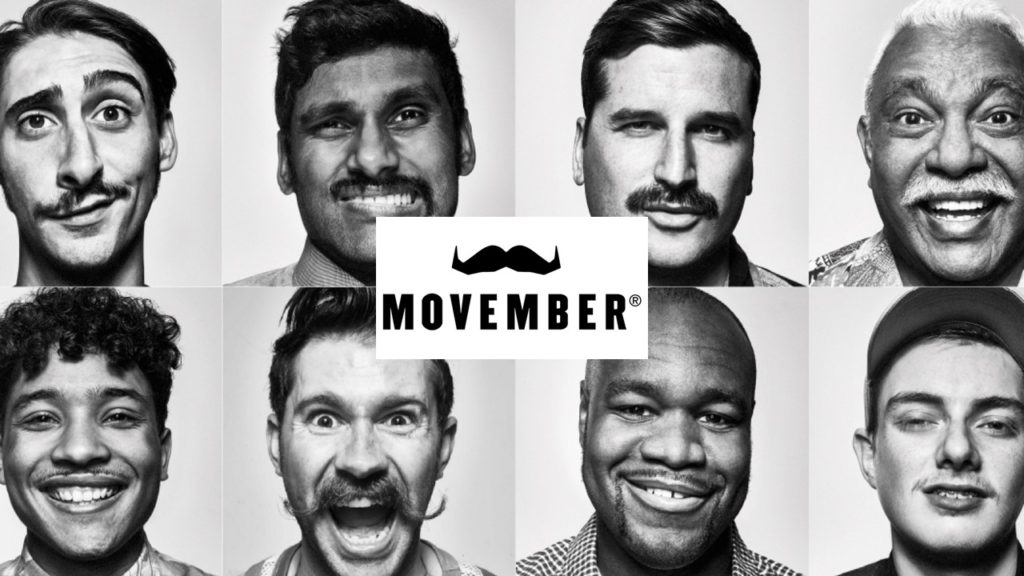"""Black and white portraits of eight men with mustache. The logo """"Movember"""" is in the middle of the image."""