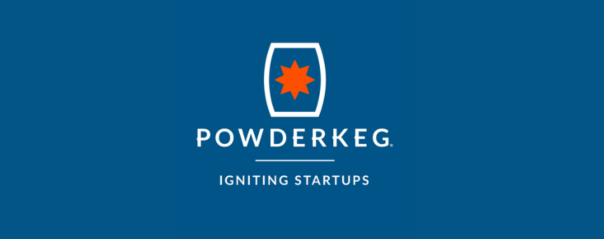 """Blue background image with """"Powderkeg Igniting Startups"""" written in white"""