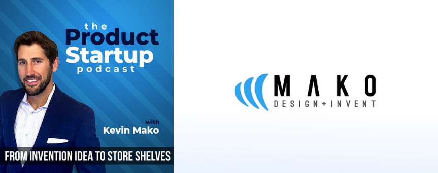 """Image of Kevin Mako on a blue background, with the sign """"The Product Startup Podcast"""""""