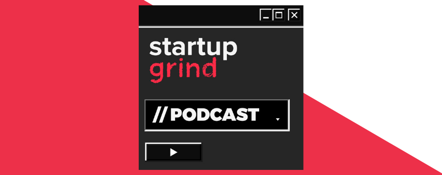 """White and red background, with a black square on which's written """"Startup Grind,"""" both in white and red"""