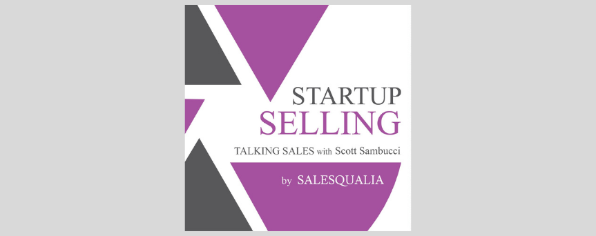"""Purple, black, and white background image, with """"Startup Seling"""" written at the center"""