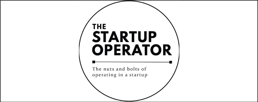 """""""The Startup Operator"""", which is the podcast name, is written in black. It's inside a circle at the center of the image."""