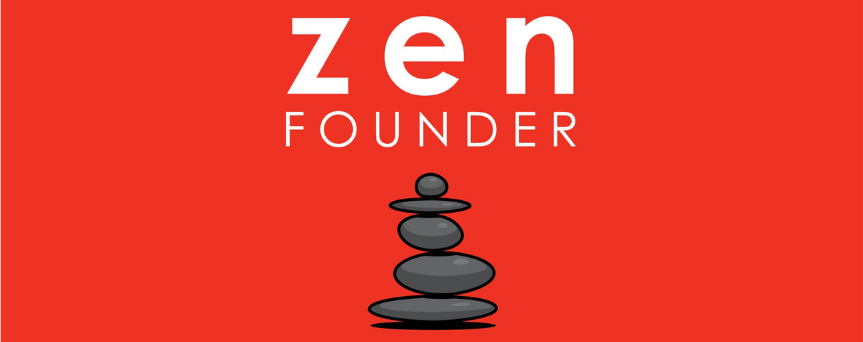 """Red background image with above the sign """"Zen Founder"""". Under that, there's a pile of stones"""