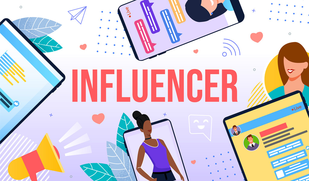 """Infographic of four mobile phones, a megaphone, and people. In the middle of the image stands the word """"Influencer"""""""
