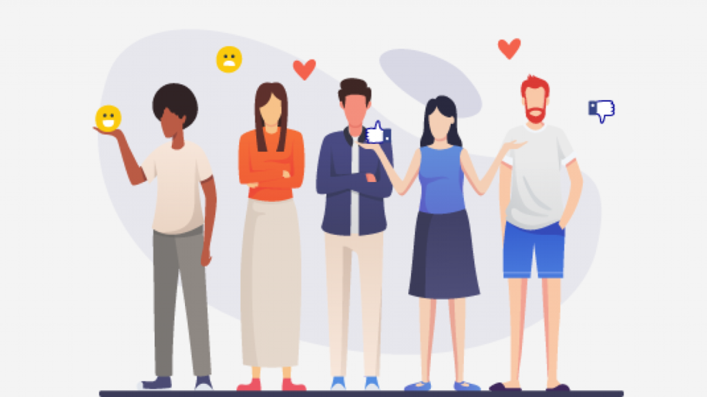 Infographic of five people standing and holding likes, hearts, and emojis. Metaphorical representation of satisfied customers.