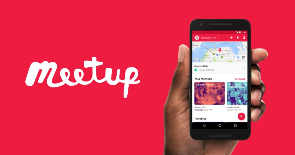 Screenshot of the meetup app's webpage