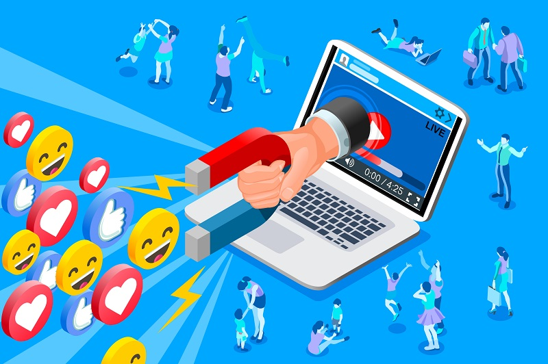An illustration of a magnet pulling likes and reaction of social media users towards a video played on a laptop.