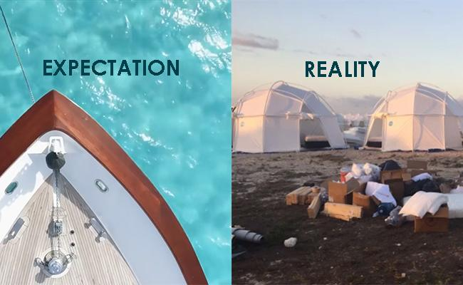 Fyre Festival marketing campaign and how it looked in real life.