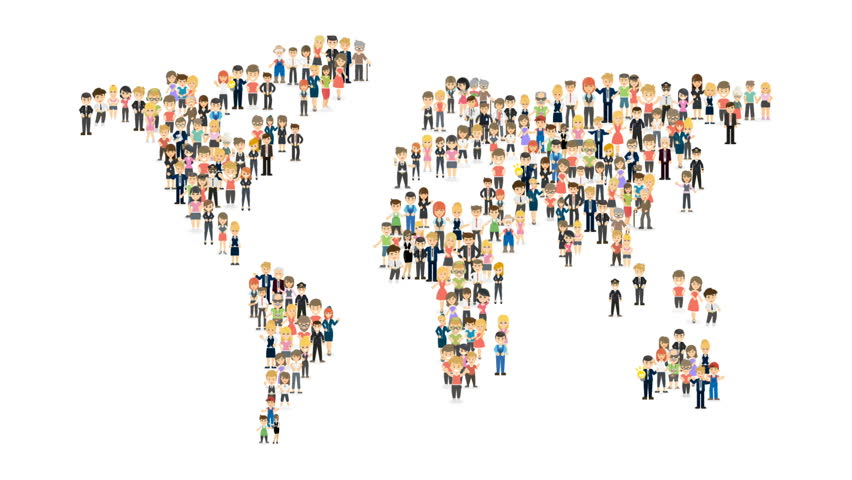 Infographic of a map of the world made by people standing next to each other.