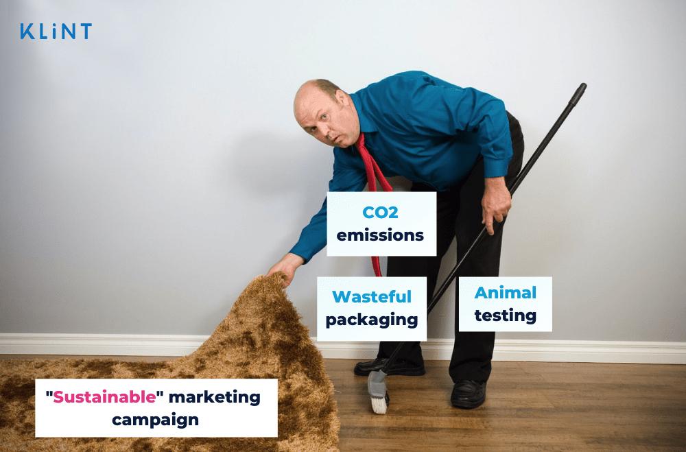 Sustainable marketing and greenwashing illustration.