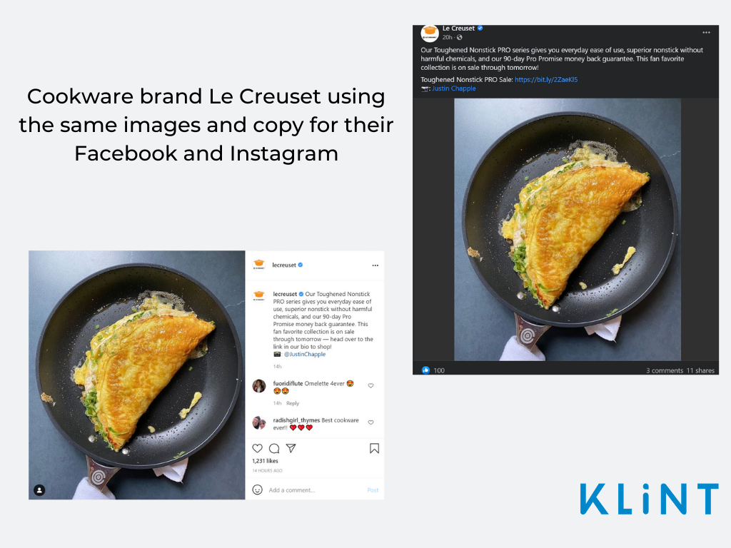 Screenshots of Le Creuset Instagram and Facebook page featuring same post pros and cons of Instagram