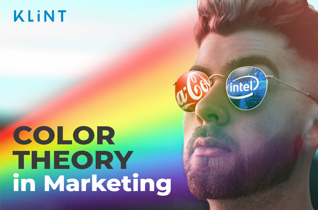 """A rainbowshines onto a mans face. The reflection in his sunglasses are the logos of Coca Cola and Intel, respectively. Text overlaid: """"Color Theory in Marketing"""""""