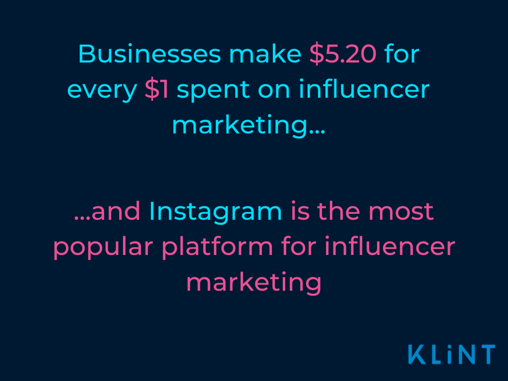 Pros and cons of instagram graphic showing business make $5.20 for ever $10 spent on influencer marketing