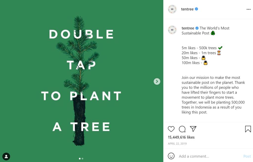 Screenshot of Ten tree's viral instagram post