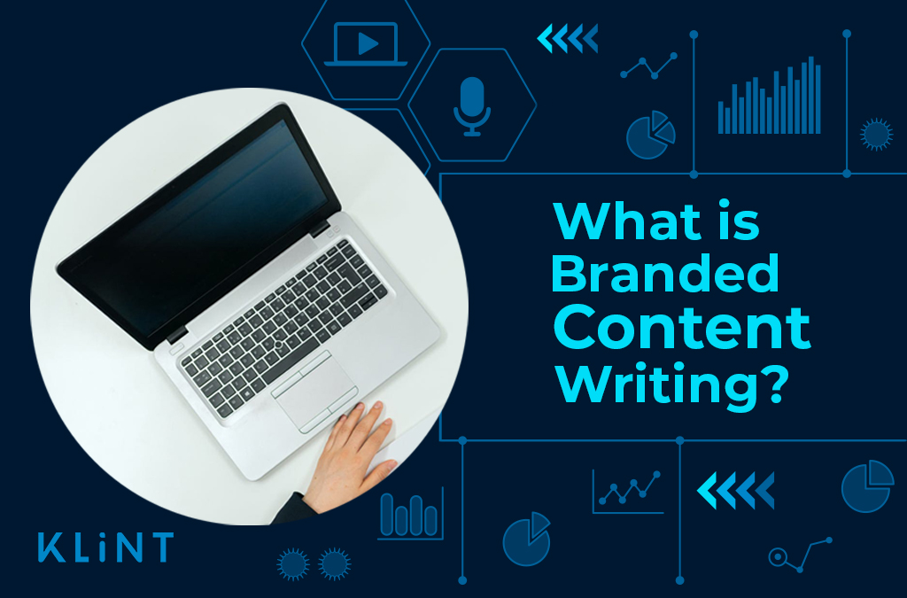 """Computer in a blue background and infographic behind. Text overlaid : """"branded content writing"""""""
