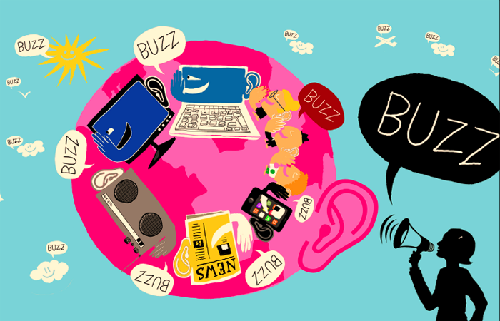An illustration of buzz marketing campaign through different mediums around the world.
