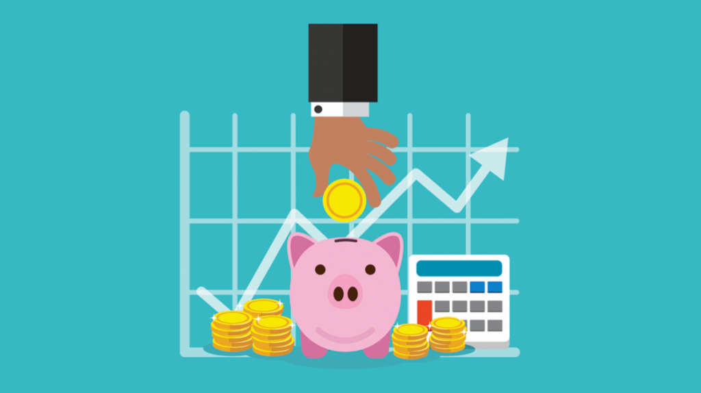 Infographic of a piggy bank with a hand putting money in it. Representation of increased ROI.