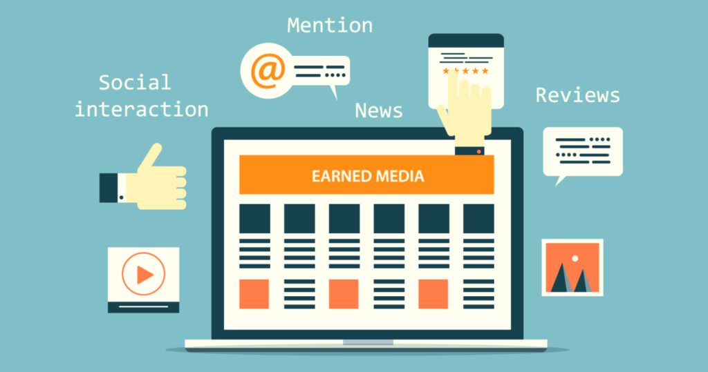 Infographic showing a lap top with a title 'Earned media' around which different types of earned media appear.