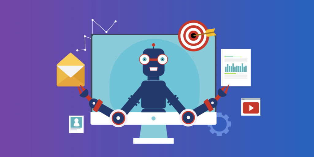 Illustration of automation processes. A robot is poking out from the computer monitor.