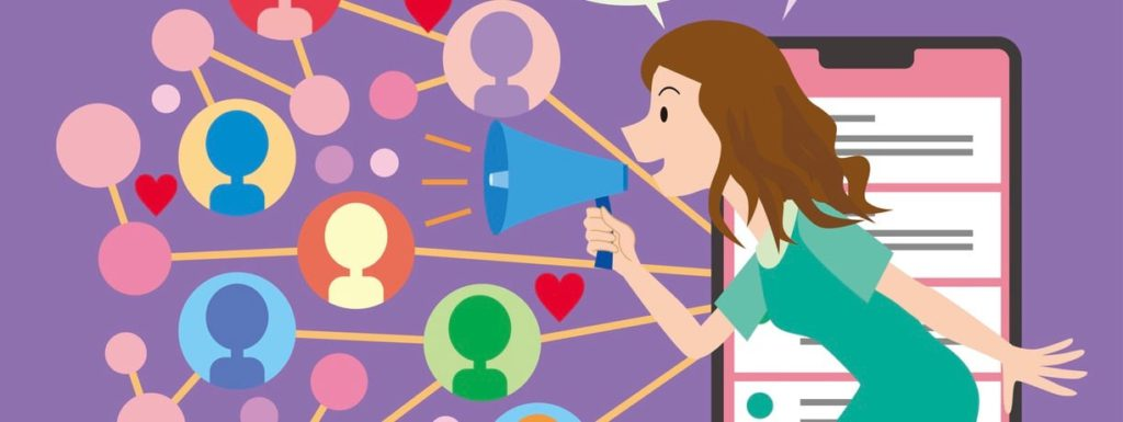 An illustration of a girl talking on a megaphone. Representation of an influencer reaching new audiences.