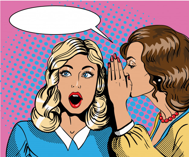 Infographic of two women whispering about exclusive content.