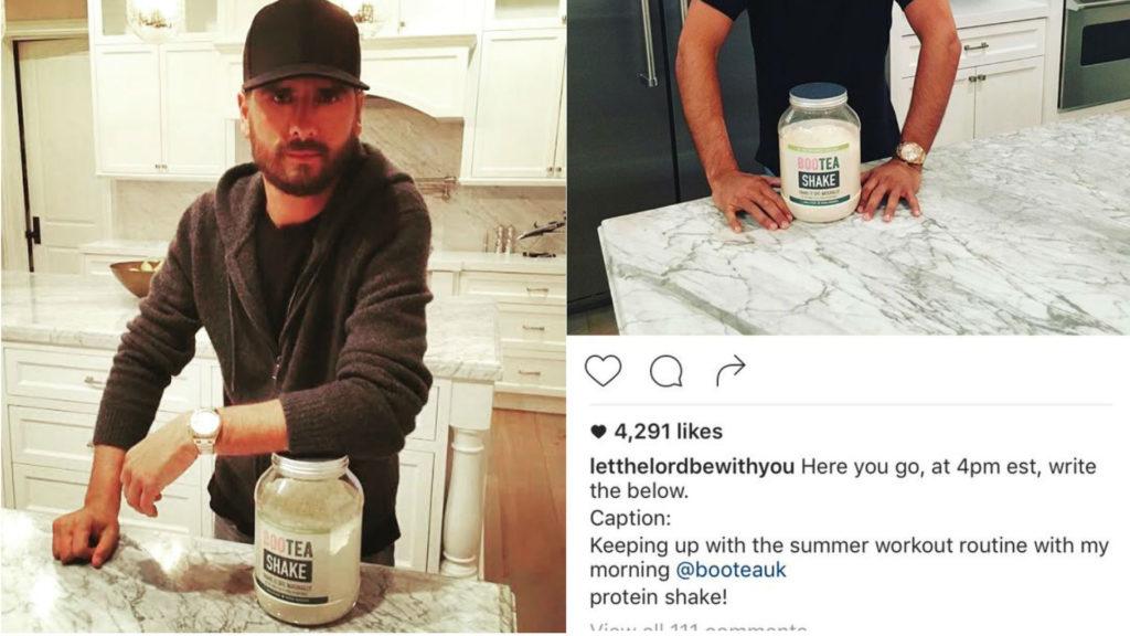 Scott Disick's Instagram post about Bootea Shake.