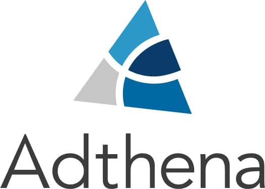 Adthena text written in black, on the top there's a triangle blue and grey, which is their logo