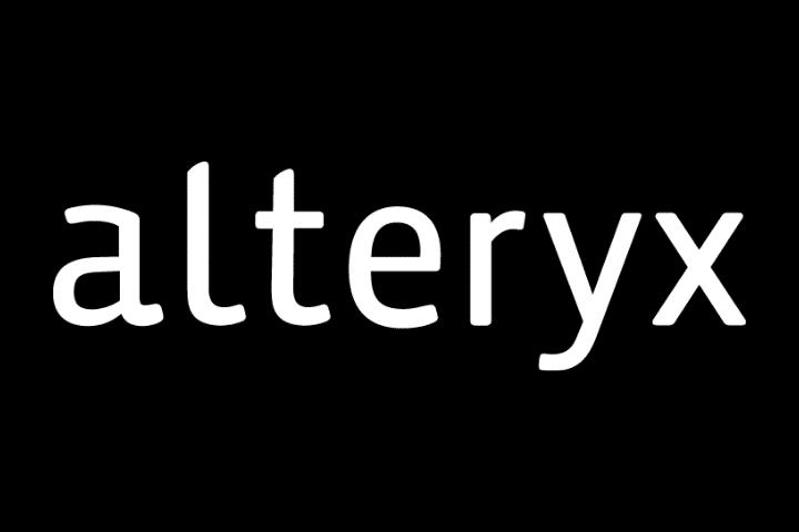 Logo of Alteryx, who produce data analysis tools. White text on black background.