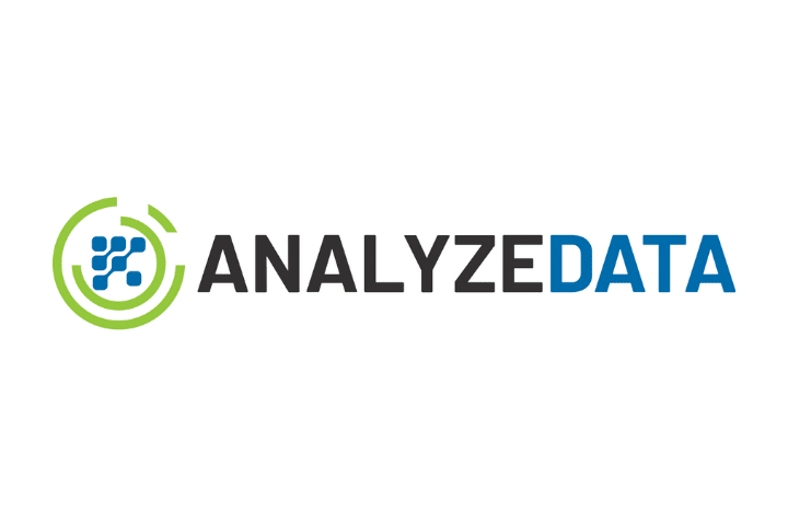 Analyzedata data analysis software logo. Black and navy text with green and navy logo on white background.