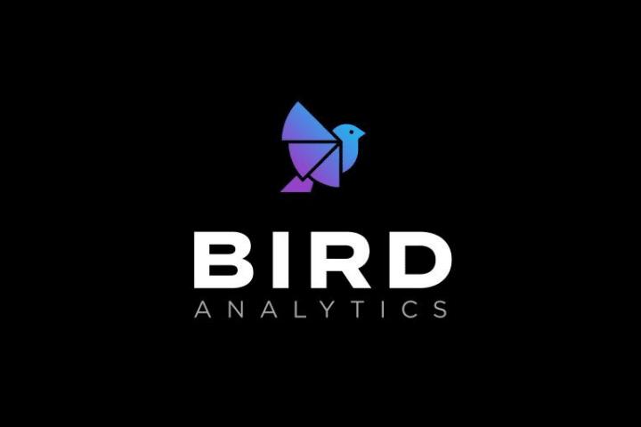 Logo for Bird Analytics, who provide data analysis tools. White text and blue bird image on black background