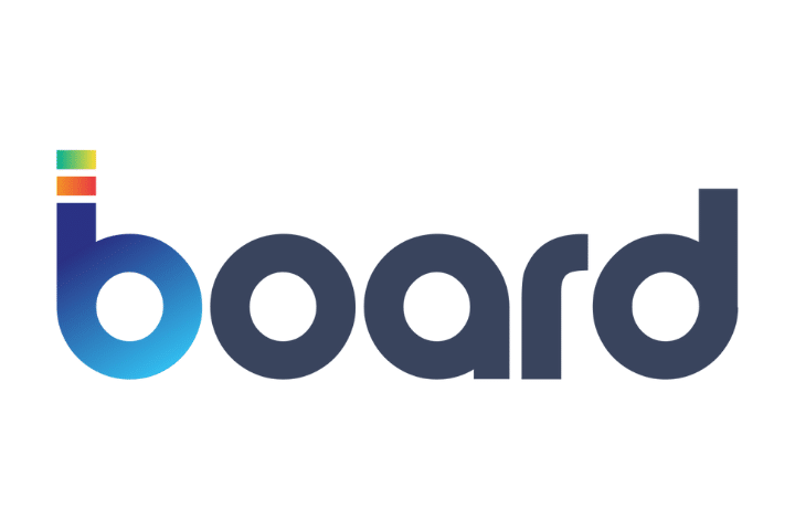 Board data analysis software logo. Dark blue and light blue text on white background.