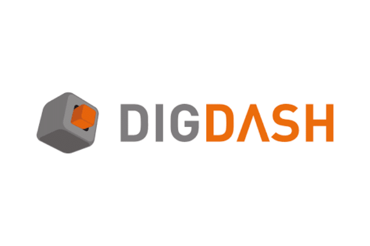 DigDash logo - gray and orange text on white background with gray and orange square logo