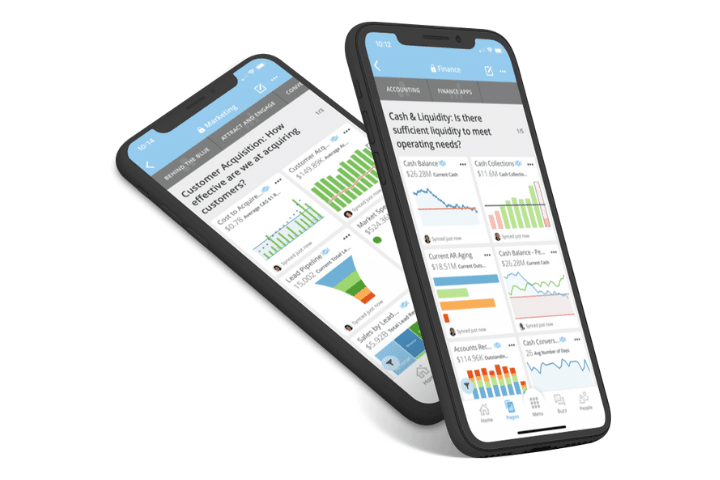 Two cell phones depicting Domo's data analysis tools in action. Graphs, charts and figures.