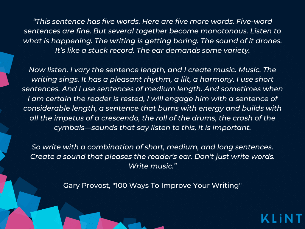 """Gary Provost's """"Write Music"""" content writing quote, depicted on dark blue Klint Marketing graphic."""