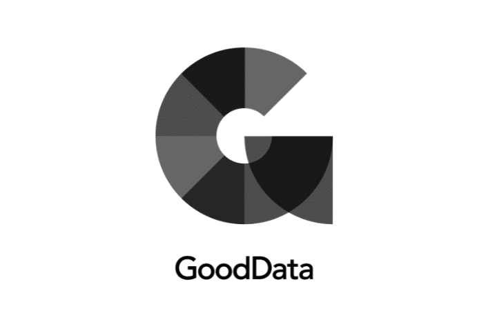 GoodData's logo - Black text below gray and black G icon on white background