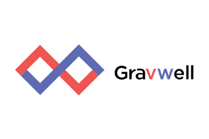 Gravwell's purple and red logo to the left of Gravwell text in black, purple and red.
