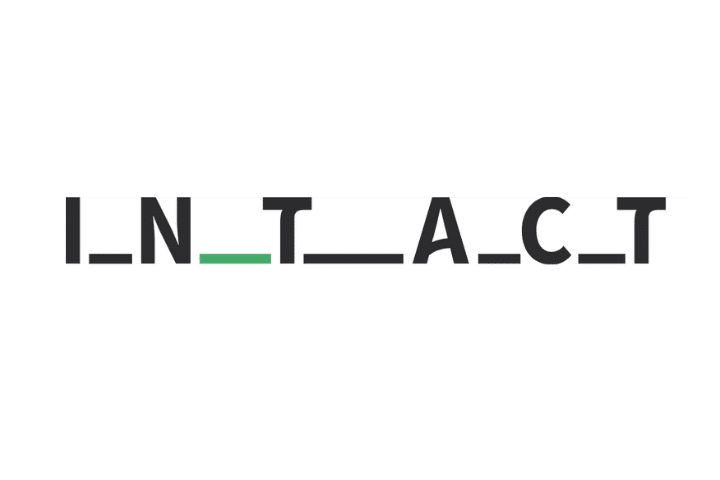 Intact's logo: black and green text on white background with underscores between each letter.