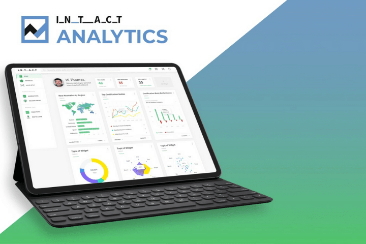 Intact dashboard example. A selection of data analysis tools graphs, and charts.