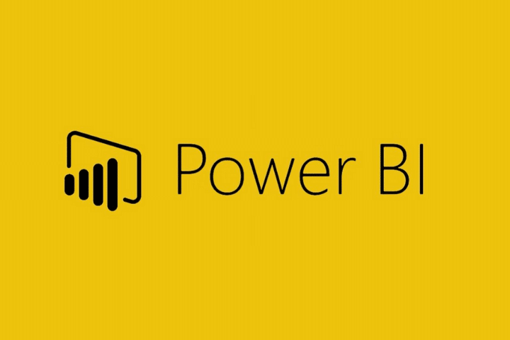 Microsoft's power bi logo, golden background with black text.