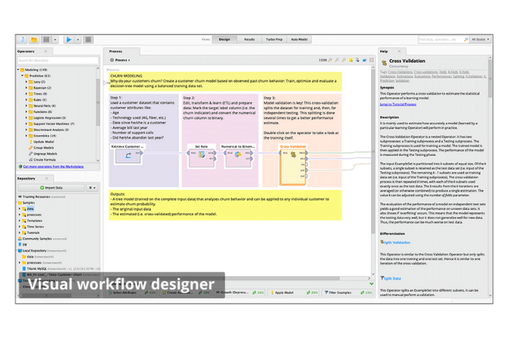Rapidminer dashboard example. A selection of data analysis tools graphs, and charts.