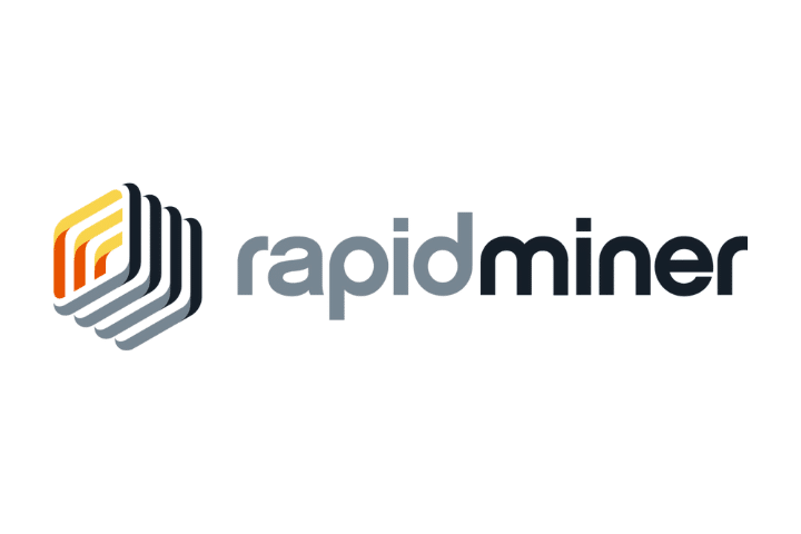 Rapid miner's gray, black, yellow and red logo to the left of rapid miner text in gray and black.