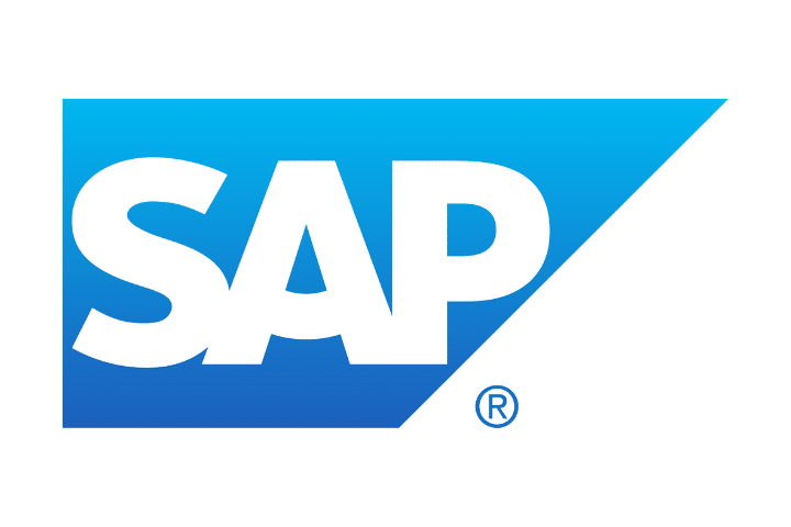SAP's white logo on a blue and white background.